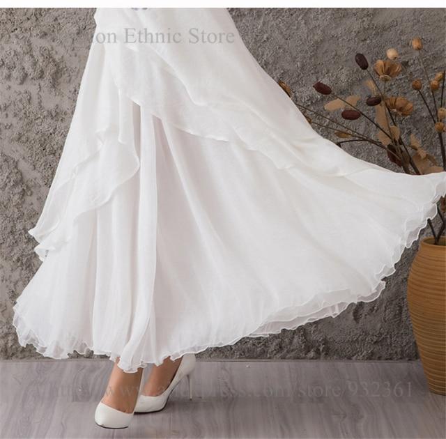 Młodzieńczy Kobiet moda ponadgabarytowych Hem biała szyfonowa długie spódnice HM02