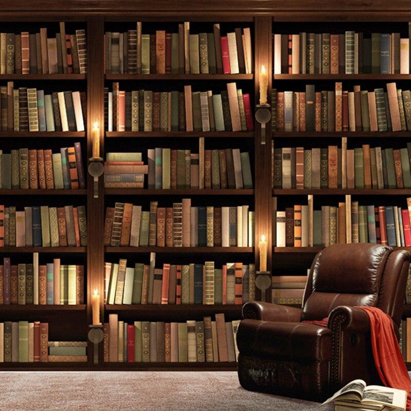 Custom European Retro Bookcase Books Bookshelf 3D Wall  Mural Wallpaper Living Room Sofa Background Wallpaper Papel De Parede 3D