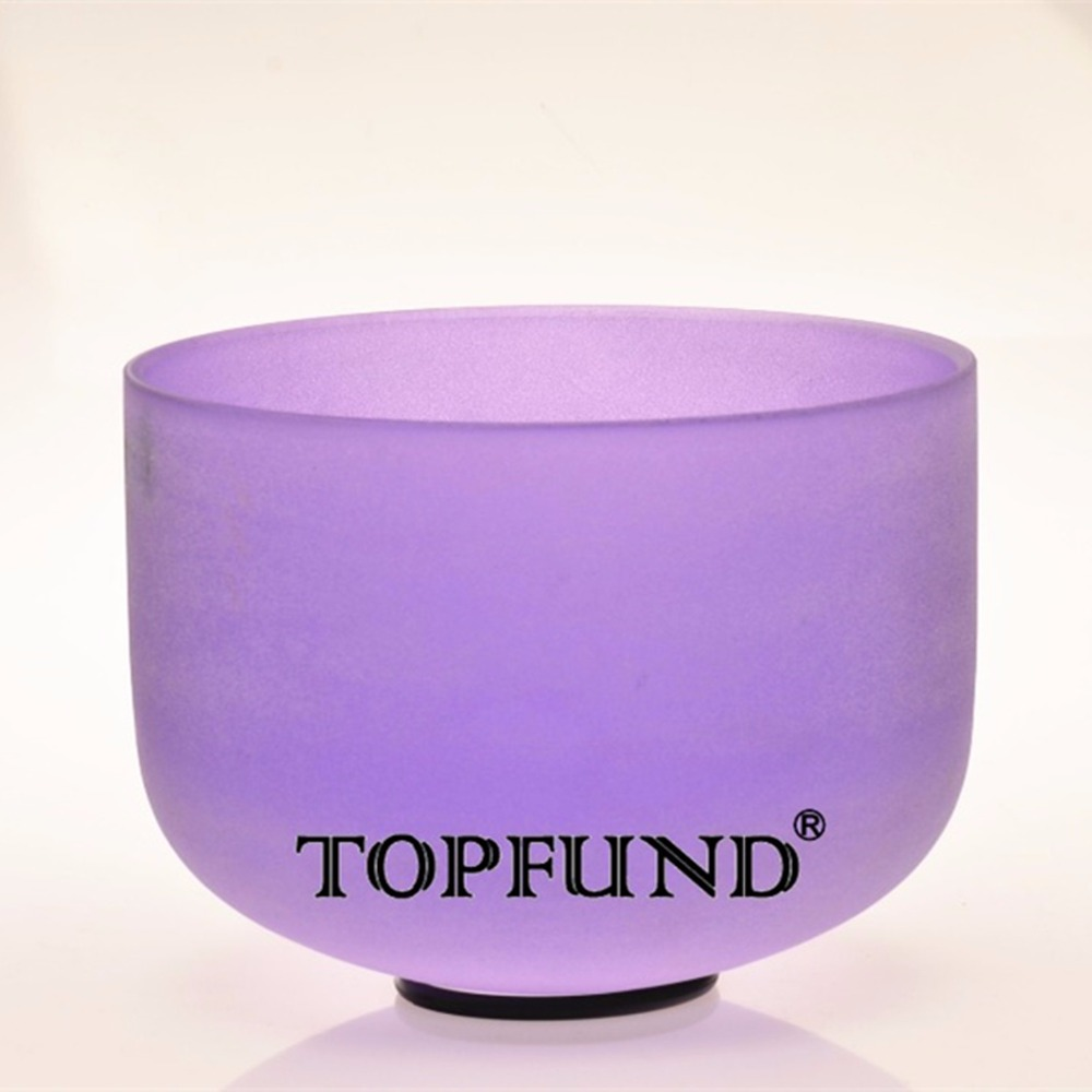 TOPFUND Violet Colored Frosed Quartz Crystal Singing Bowl 432HZ Tuned A# Pineal Chakra 10 With Free Mallet and O-Ring topfund yellow frosted quartz crystal singing bowl 432hz tuned e solar plexus chakra 10 with free mallet and o ring