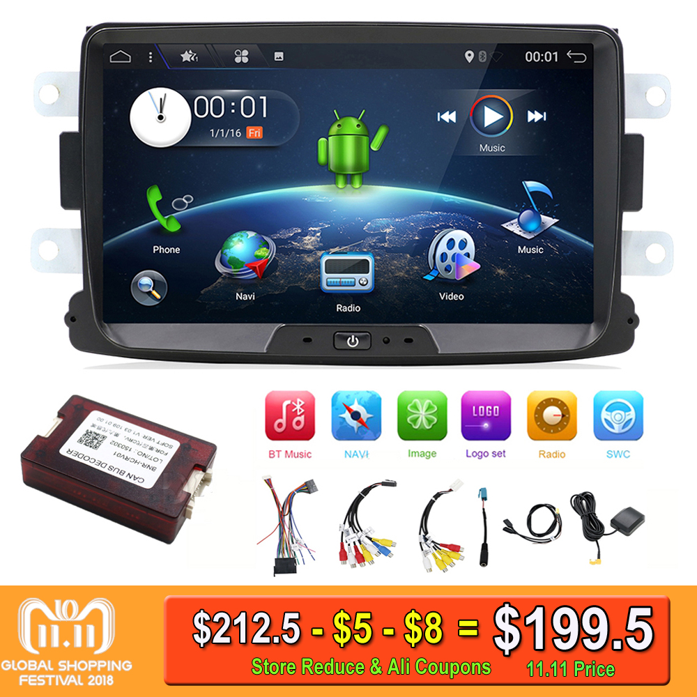 Quad Core Pure Android 7.1 GPS Navigator Radio car dvd For Dacia Renault Duster Logan Sandero stereo Central Cassette Player android 7 1 1 car dvd player gps glonass navigation for renault dacia duster sandero lodgy dokker multimedia video radio stereo