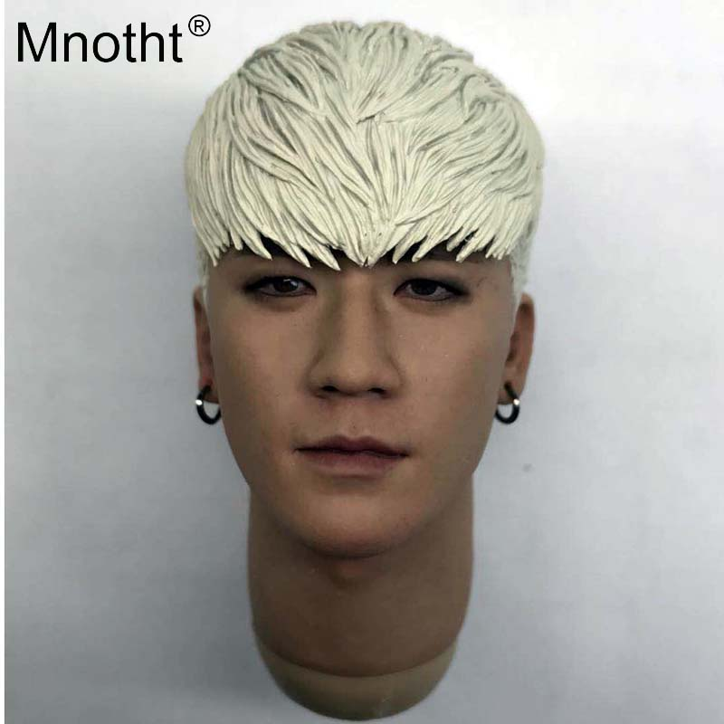Mnotht 1/6 Scale Modern star bigbang Head Carving Model Asian Star Head Sclupt Model Toys Collections For 12in Action Figure m3 mnotht new 1 6 scale siberian husky model simulation animal pet dog model toys for 12in soldier toy scene collections hobbies