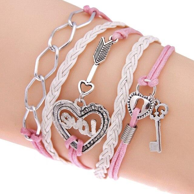 FAMSHIN New Handmade Bracelet Lock key Cupid's Arrow Charms Infinity Bracelet White Pink Leather Bracelet Women Best Couple Gift 3