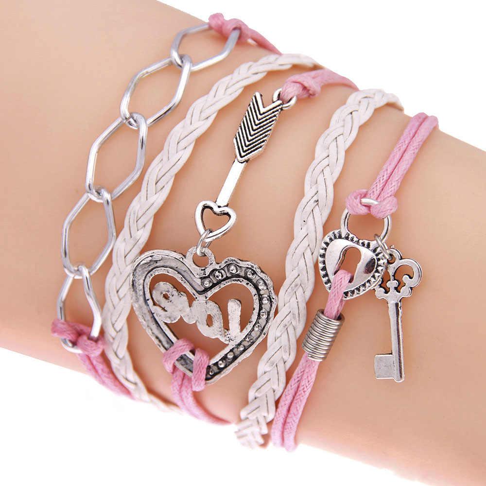 FAMSHIN новый браслет ручной работы замок ключ украшения-стрелы Браслет «бесконечность» белый розовый кожаный браслет для женщин лучший подарок для пары