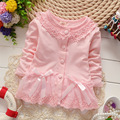 2016 spring new long sleeve newborn girls clothes cotton cardigan for infant girls cute bow baby girls lace jacket for 4-24M