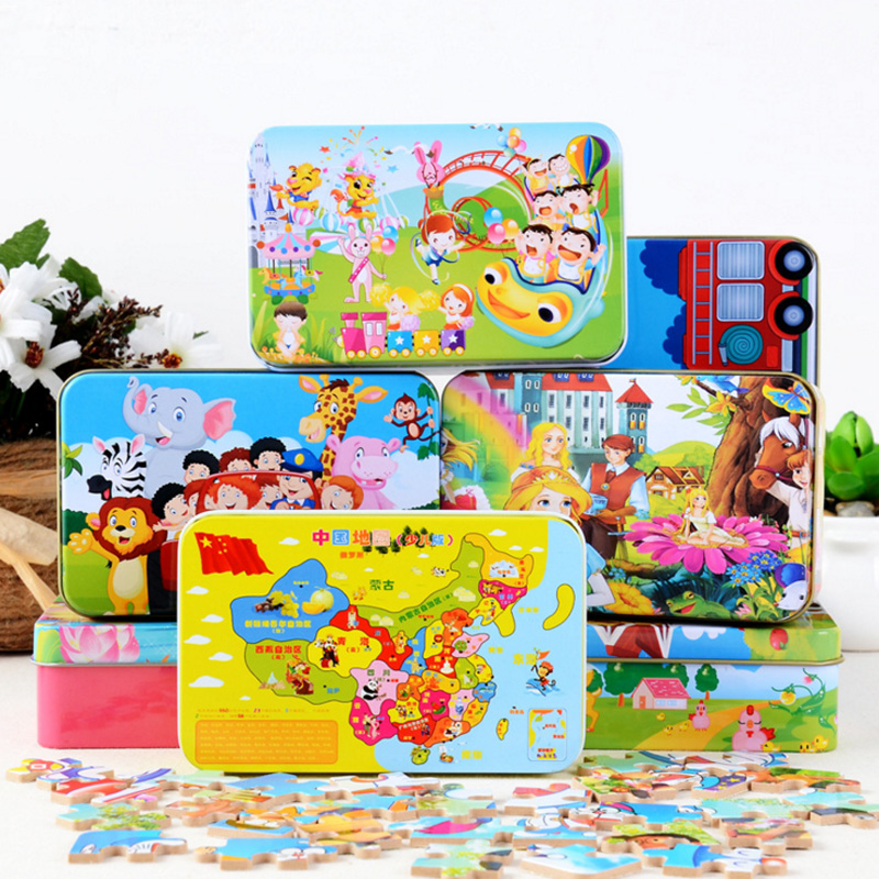 60/Iron Box Wooden 3D Puzzle With Cartoon Animal Jigsaw Puzzles Children Preschool Monte ...