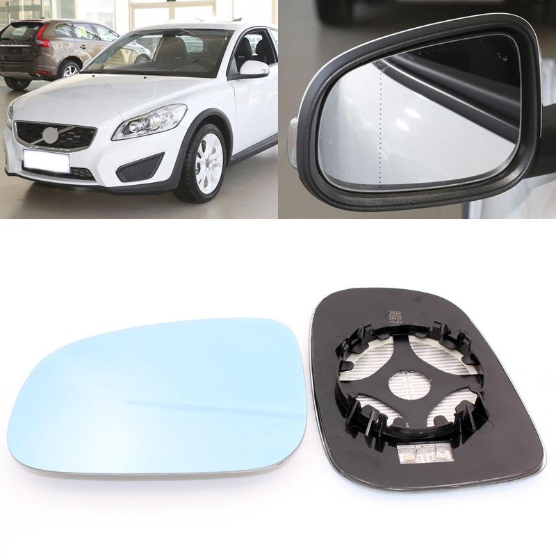 For Volvo C30 2006 2013 Side View Door Mirror Blue Glass With Base Heated 1 Pair