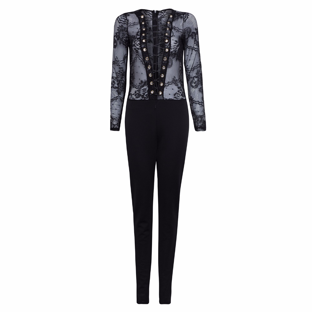 Clothink Black Plunged Neck Tie Up Detail Lace Paneled Tight Jumpsuit 2016 Summer Fashion Sexy Overalls
