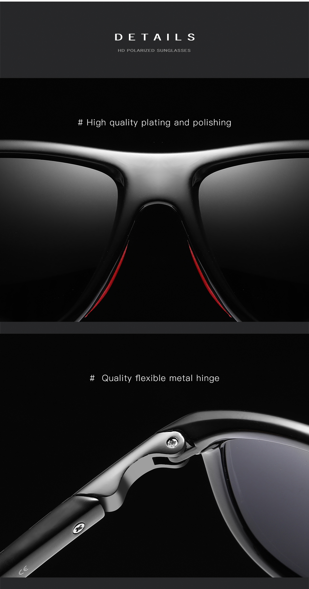 High-end  Polarized  Sunglasses Men Driving Square Frame Sun Glasses Classic Unisex Goggles Eyewear UV400 Natuwe&Co