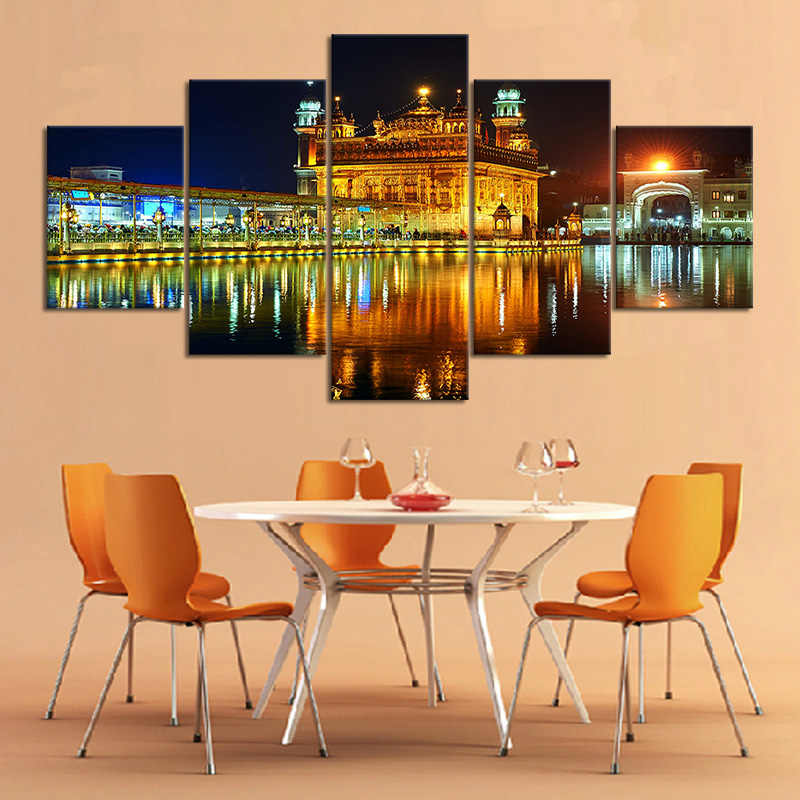 5 Piece Night Light Scenery Famous Indian Landmark Sikh Gurdwara Golden Temple Landscape Canvas Painting Room Decor Wall Sticker