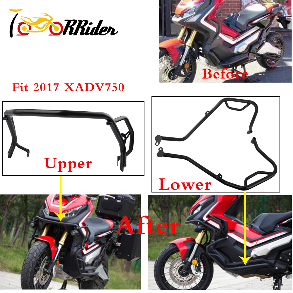 XADV750 Upper Lower Highways bars Crash Bar Engine Guard Bumper Frame Protector for 2017 2018 Honda X ADV 750 XADV 750 X ADV 750-in Bumpers & Chassis from Automobiles & Motorcycles    1