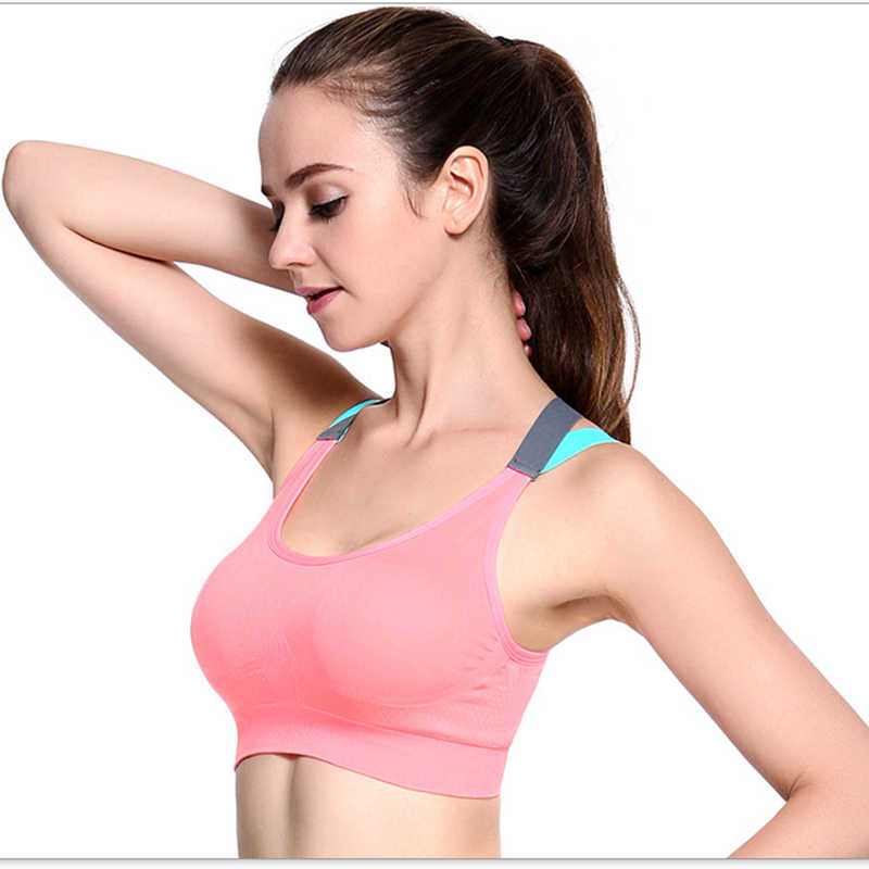 Mujer Fitness Sujetador deportivo de yoga gimnasio Running Camiseta de tirantes con relleno chaleco Atlético Ropa Interior Pro a prueba de golpes Strappy Push Up Sport Bra Top