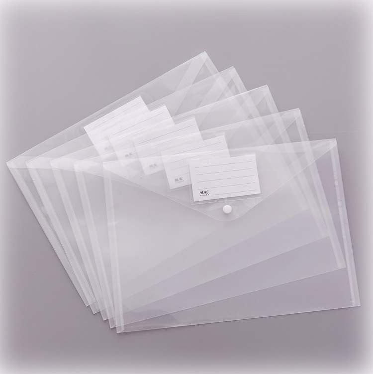 Clear Frosted Plastic Filing Bag Folder A4 Envelopes Document Storage Pouch With Label Sticker Expanding File Waterproof