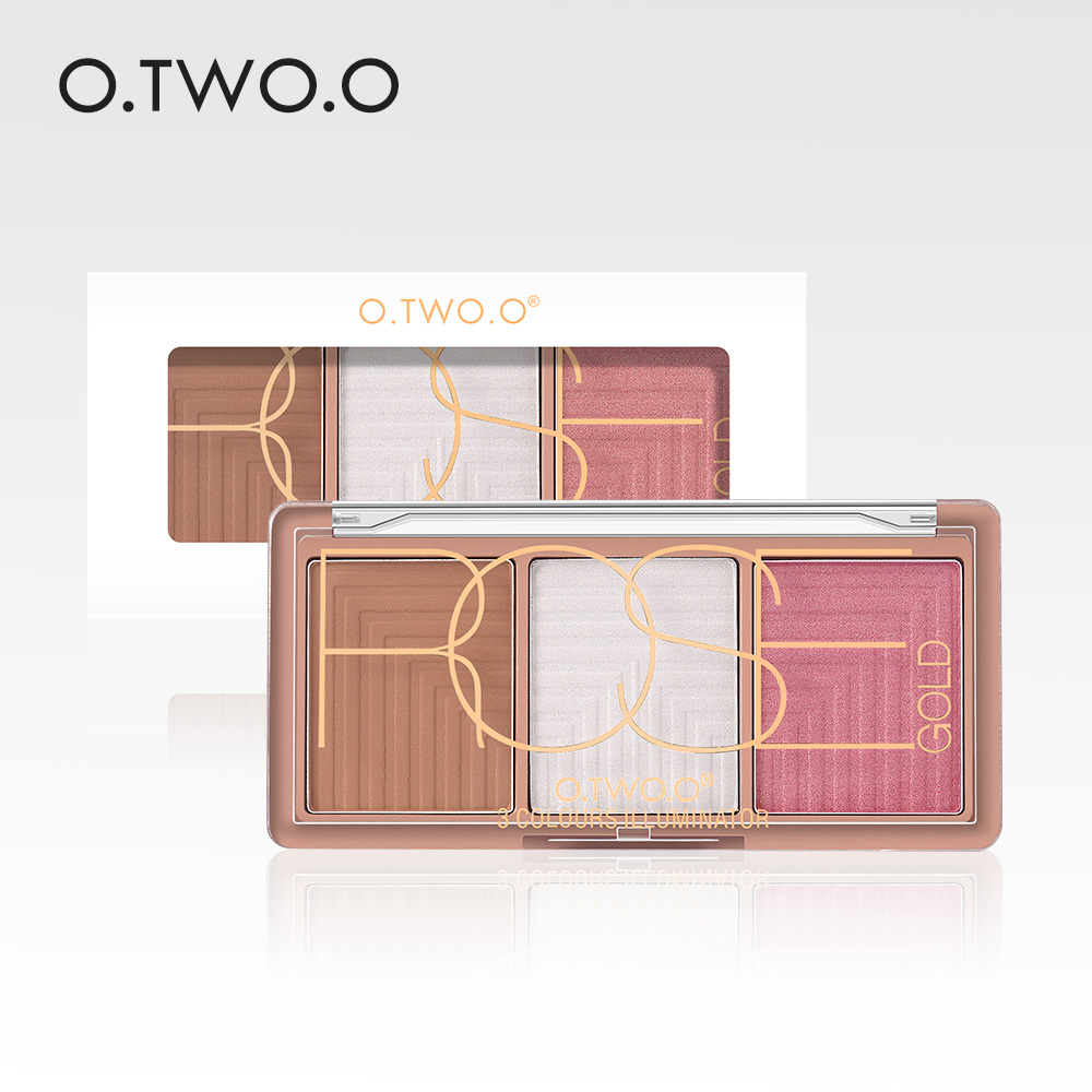 O.TWO.O 4 Colors Palette Face Contour Powder Highlighter Blusher Bronzer Makeup Base Foundation Powder 1pcs pro round top makeup brush cosmetic loose powder foundation compact powder blusher contour highlighter beauty tool