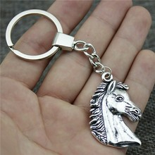New Fashion Men Jewelry Keychain Diy Metal Holder Chain Horse 43x29mm 2 Colors Antique Bronze Silver Pendant Gift