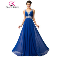 Blue Bridesmaid Dresses Grace Karin Pretty Floor Length Long Vestido De Festa Beadings Celebrity Gown Formal