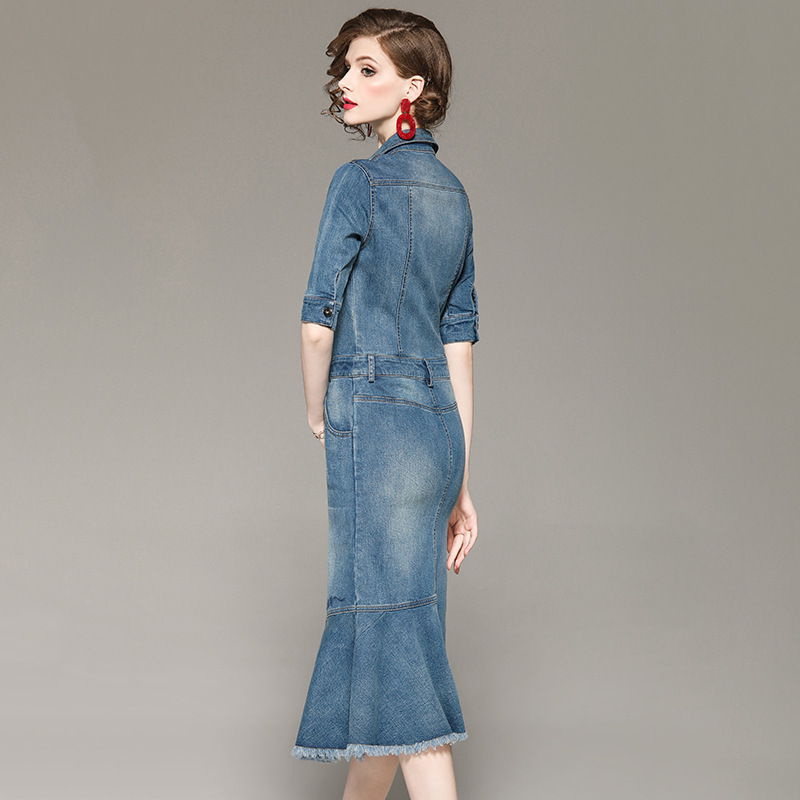 Gaine Bleu Demi Manches Sexy Robes Ruches Été Nouvelle Chemise Printemps Robe Femmes 2019 Ourlet Jeans De Asymétrique Mode Denim sBdCthxQr