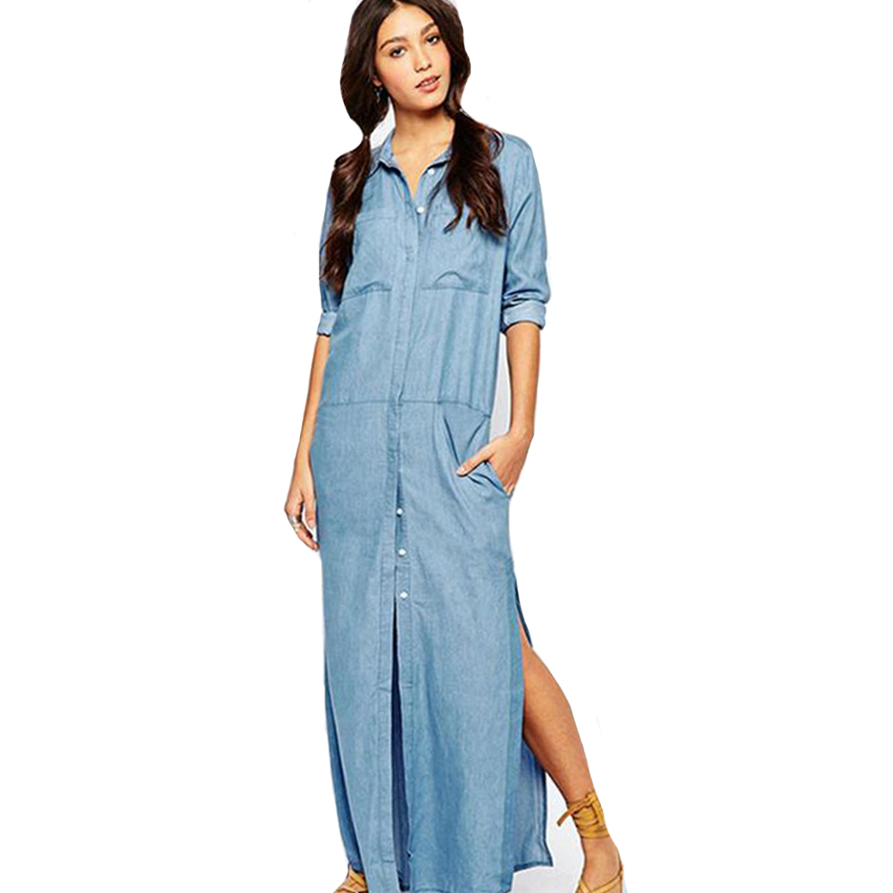 Vestido jeans longo barato