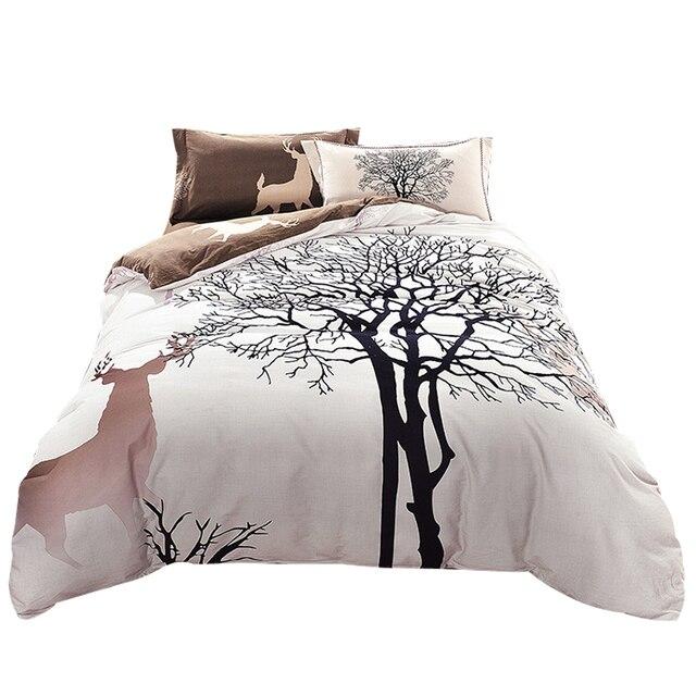 Svetanya дерево олень печати постельные принадлежности толщиной шлифование хлопок постельное белье королевы/king size зима пододеяльник набор