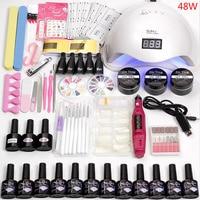 12 Color Gel Nail Polish Varnish Extension Kit with 36w/48w /80w Led Uv Nail Lamp Kit for Manicure Set Acrylic Nails Art Tools