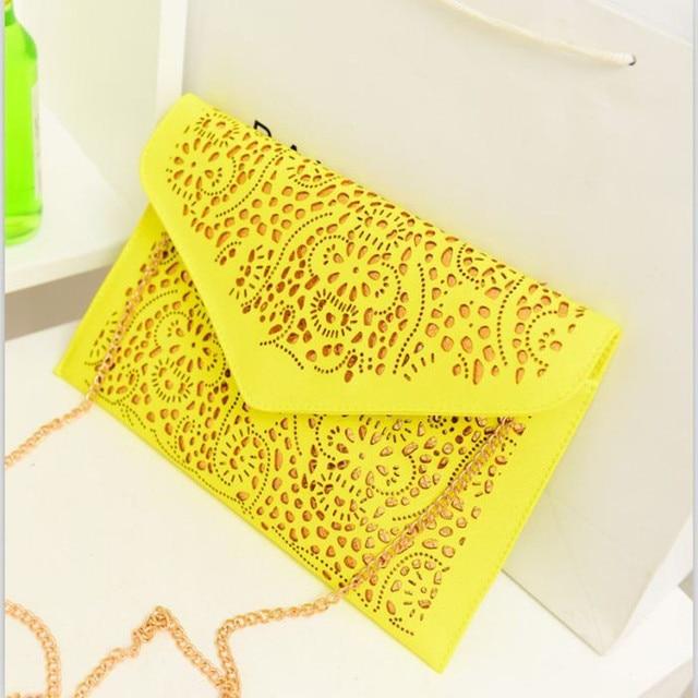 2015 Fashion Vintage women Day clutch Bag Messenger Bags Trend designer handbags Hollow Out envelope Shoulder Bags Clutch yellow