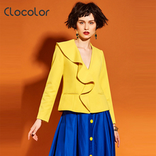 Фотография Clocolor Women Blazer 2017 Spring Summer brief Falbala Double Pocket Polyester Slim V-Neck Long Sleeve Fashion Women Blazer