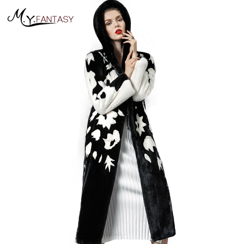 M.Y.FANSTY Winter 2017 Import Real Mink Fur Coats Print Flower Coat Women's With Fur Hood With Hat Causal Silm X-Long Mink Coats