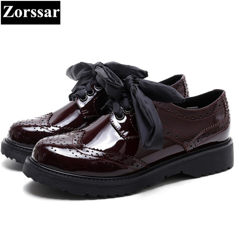 font b Women b font Genuine leather Fretwork Vintage Flat Oxford font b Shoes b