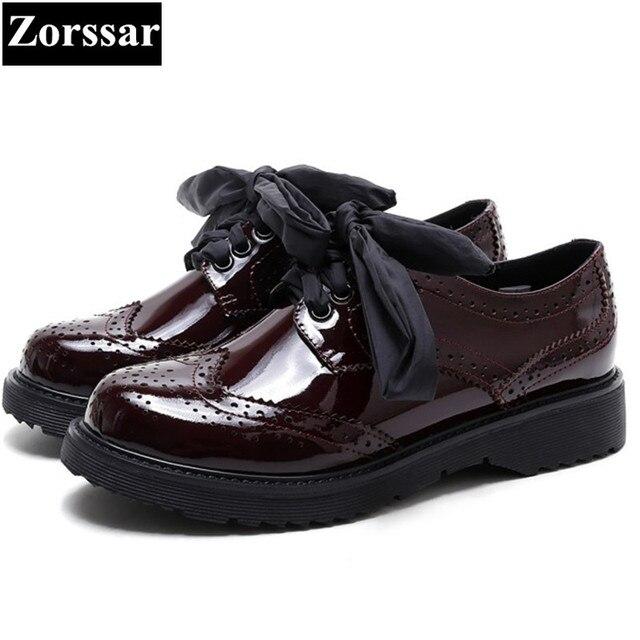 c9ad55e19 Ornamentação de couro Genuíno das mulheres Do Vintage Planas Sapatos Oxford  Brogue Oxfords mulheres sapatos Mulher