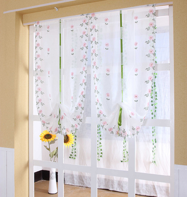 2018 1 unid Sheer cocina puerta ventana Margarita cortina romana ...