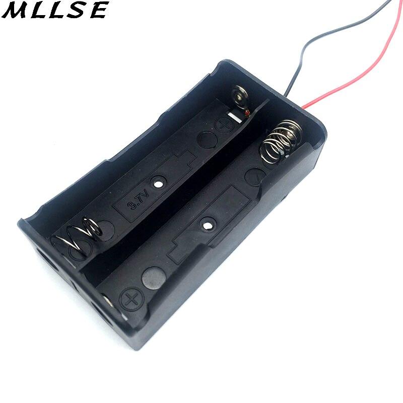 Mllse черный Пластик коробка для хранения Дело держатель для Батарея 18650 с 6 «Провода приводит 2 3.7 В клип 18650 батарея случае В виде ракушки