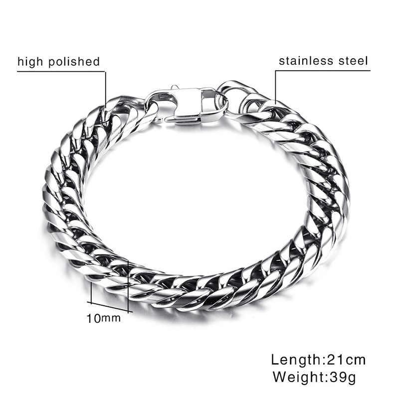 Vnox męskie Link Chain bransoletki bransoletki nadgarstek ze stali nierdzewnej pasek ręcznie łańcuch biżuteria męska prezent Pulseira