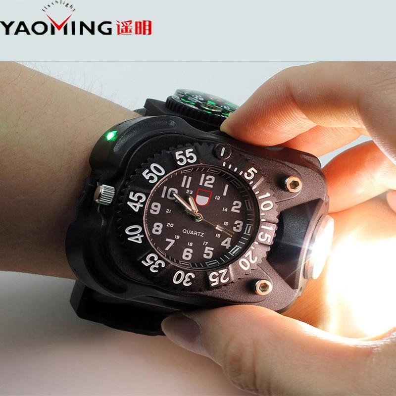 Flashlight T6 Waterproof Light USB Multifunction Cree XML Quartz Watch New Rechargeable 2000 Lumen Torch lanterna militar