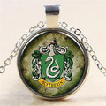 Hot Sale Classic Harry Potter Green Snake Slytherin Badge Magic Glass Time Gems Necklace Pendant Friends Christmas Gifts NN024