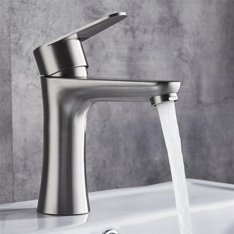 Stainless steel Bathroom nickel Brushed Basin Faucet Hot & Cold Water Mixer Tap Torneira Sink Faucet stainless steel deck mounted single cold nickel brushed sink faucet basin faucet tap mixer