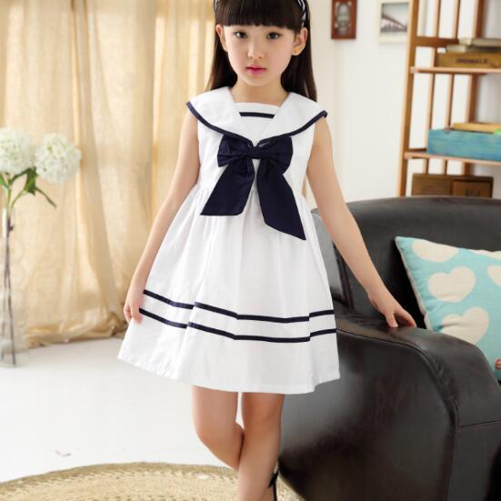 01996d3c4 Summer New Children Clothes Girls Dresses Sailor Collar A line ...