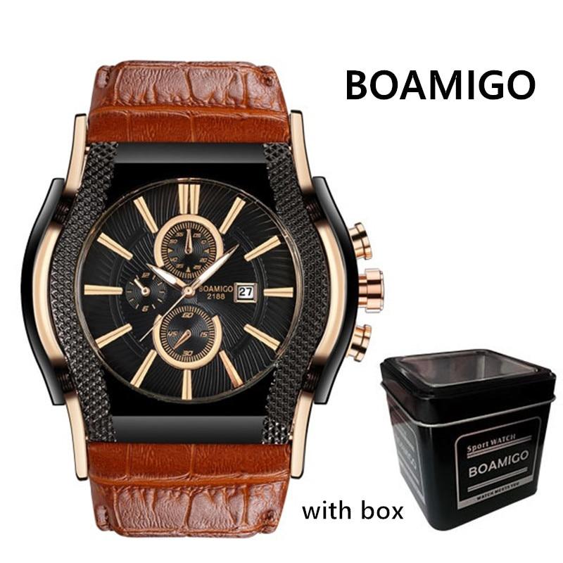 Mens relógios de marcação big BOAMIGO marca men quartz relógio de pulso de couro 2018 relógio de luxo auto data presente relogio masculino