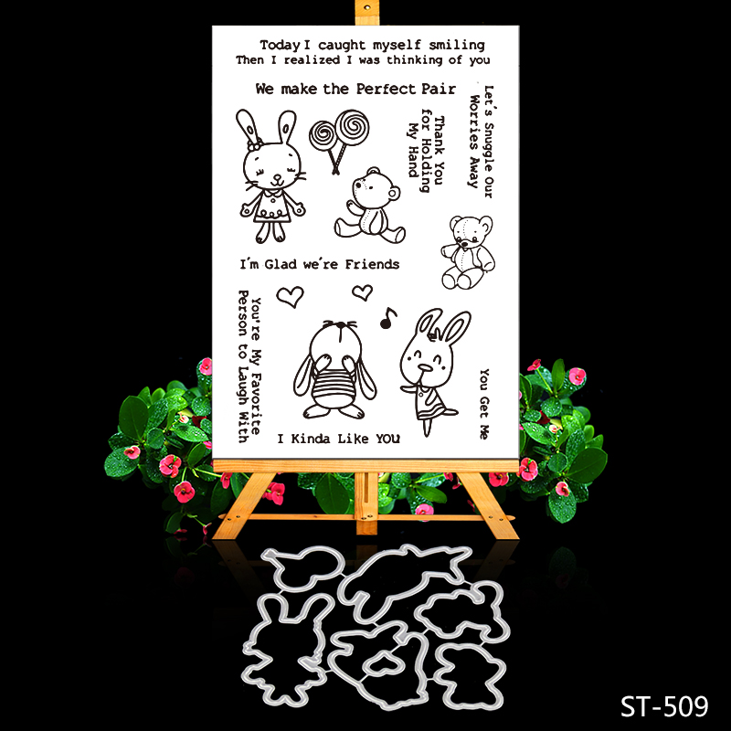 Rabbit and Candy Transparent Clear Silicone Stamp/Seal for DIY Scrapbooking/photo Album Decorative Clear Stamp Sheets lovely animals and ballon design transparent clear silicone stamp for diy scrapbooking photo album clear stamp cl 278