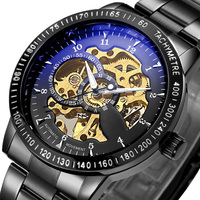 Top Luxury Brand Mechanical Watch Men S Automatic Self Wind Wristwatch Stainless Steel Skeleton Fashion