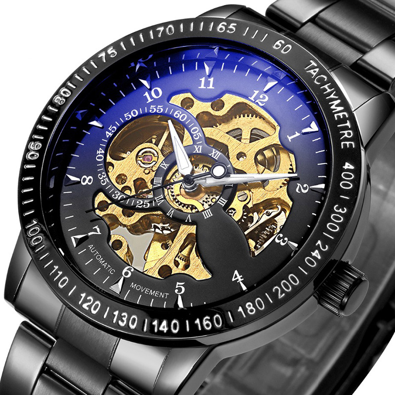 Top Luxury Brand Mechanical Watch Men's Automatic Self wind Wristwatch Stainless Steel Skeleton Fashion Clock Male Steampunk luxury original imported automatic mechanical dress watch businessmen 316l steel self wind wristwatch sapphire clock 5atm nw1287
