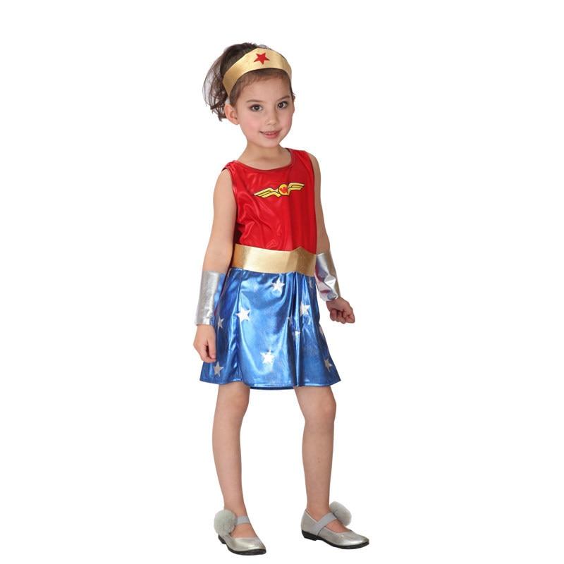 Superhero Costumes Supergirl Costume Kids Child Carnaval -3308
