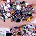 Смешанные шт. 300 шт. Crystal Clear AB дизайн ногтей Стразы DIY не исправление Flatback акрил камни для ногтей Самоцветы для 3D украшения для ногтей - фото