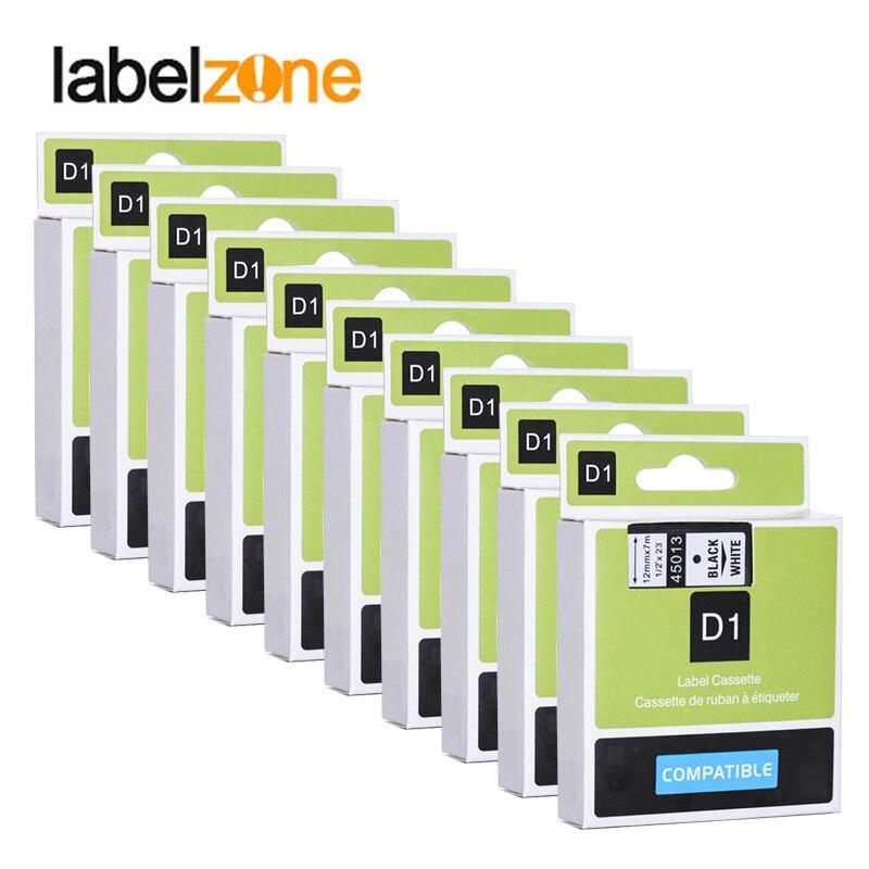 10pcs 12mm 45013 Black On White Compatible Dymo D1 12mm Label Printer 45013 Laminated Label Tapes For LM 160 280 Label Maker