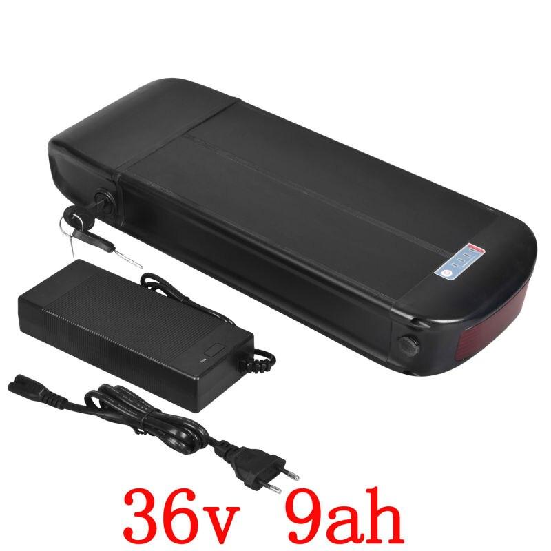 36 V 10AH batterie de vélo électrique 36 v 500 w support arrière batterie 36 v 9ah batterie au Lithium utiliser la cellule samsung avec chargeur 42 V 2A
