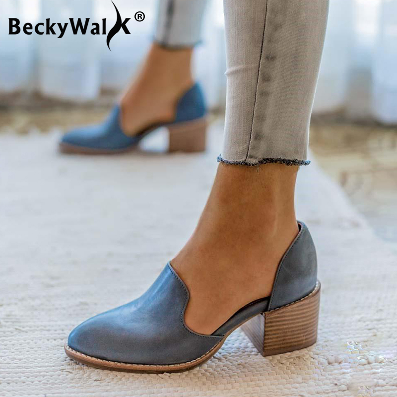 2019 Fashion Shoes Woman Pointed Toe Large Size Women Shoes For Spring Square Low Heels Cut-outs Women Pumps Size 35-43 WSH3331