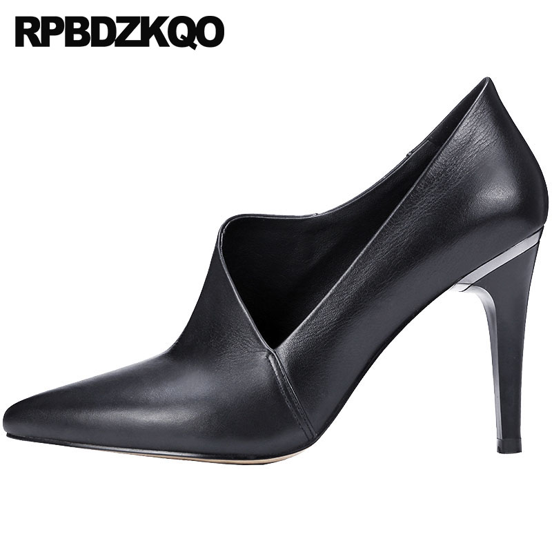 2018 Pointed Toe Ladies Handmade Size 4 34 Pumps Winkle Picker Thin High Heels 33 Luxury Brand Shoes Women Black Genuine Leather 2018 handmade genuine leather women shoes high heels ladies blue evening pumps wedge size 4 34 china prom pointed toe famous