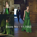 Lovely green dress on keira knightley from the movie atonement designed by jacqueline durran long celebrity dress CD030