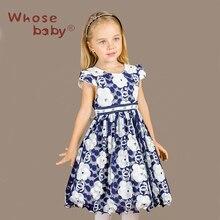 Robes d'été Pour Les Filles Parti Robe Enfants Costumes Pour Les Filles Fleur Bleue Princesse Vetement Robes Infantil Enfants Vêtements