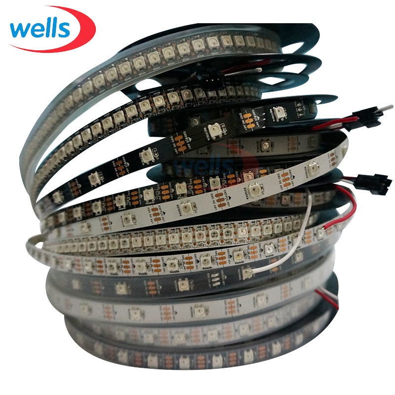 WS2812B Smart led pixel strip 30/60/144 LED / m WS2812 IC SMD 5050 RGB LED lys stripe 1m / 4m / 5m DC5V Vanntett / ikke vanntett