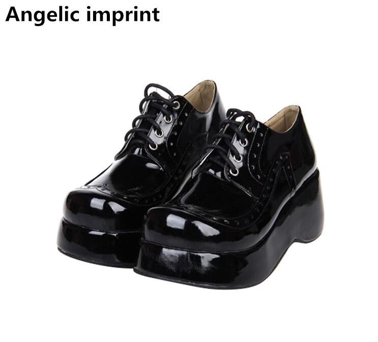 Ayakk.'ten Kadın Pompaları'de Melek baskı kadın mori kız lolita cosplay ayakkabı bayan yüksek önemsememek topuklu kadın pompaları prenses elbise parti ayakkabıları lace up 33  47'da  Grup 1
