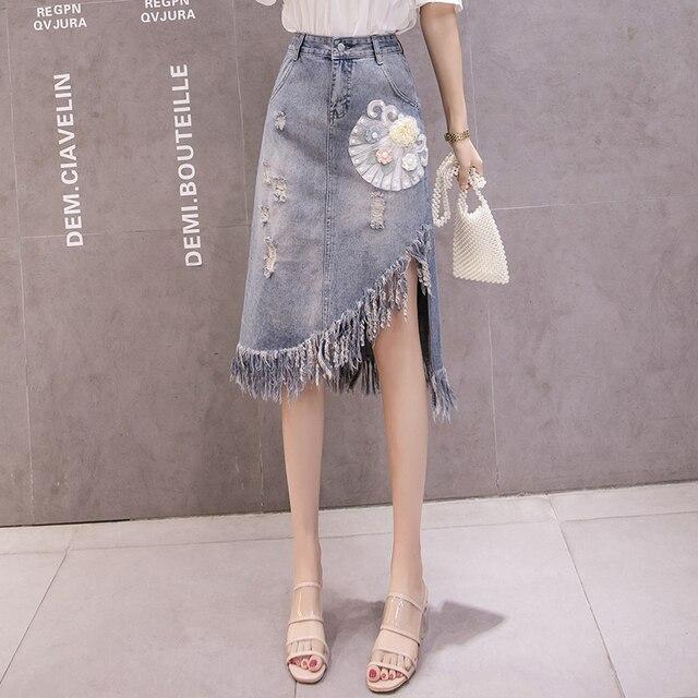 005a9c1ce8a7fe #1451 Vintage Denim jupes genou longueur asymétrique Jeans dames gland  taille haute femmes avec perles Style coréen